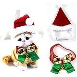 kungfu Mall Disfraz de Navidad para perro, diadema de Papá Noel, gorro y campana,...