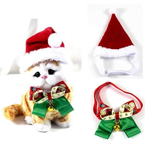 kungfu Mall Disfraz de Navidad para perro, diadema de Papá Noel, gorro y campana, disfraz de mascota para perros