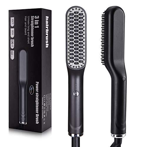 Cepillo alisador de pelo de Glynee, cepillo eléctrico para barba, con nanoaniones,...