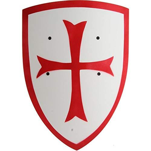 Crusader Knight Wooden Shield (Small – Red/White) – Kids Costume Accessory (Accessoire de Costume)