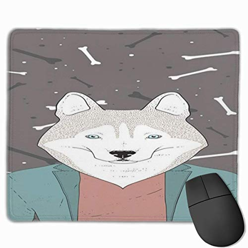 Muismat, bureau-muismat, Husky-hipster-krabbel-Husky, die een blazer-jas op een achtergrond met hondenboten-patroonkleur draagt