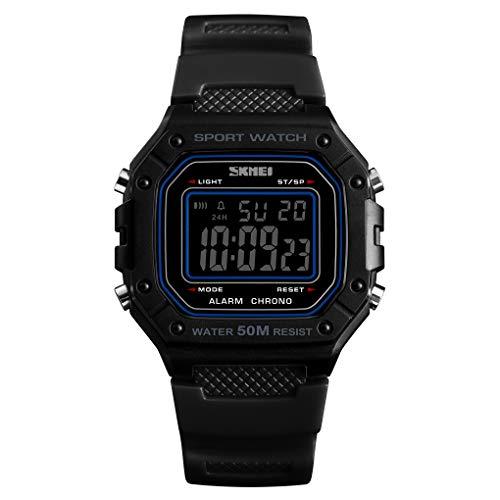 GLxlsbz Digitale Sportuhr Herren,Sport digitaluhr analog 50M wasserdichte Armbanduhr Militär mit Wecker, Laufen große Anzeige LED Digitaluhren für Herren, Black Bottom