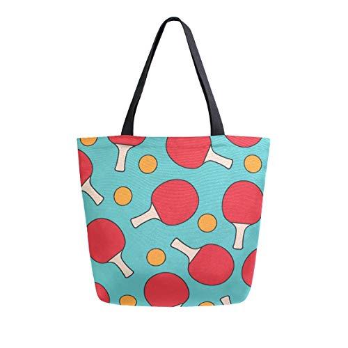 AHYLCL - Bolsa de lona para tenis de mesa, bolsa de hombro, reutilizable, grande, multiusos, para trabajo, escuela, compras, al aire libre