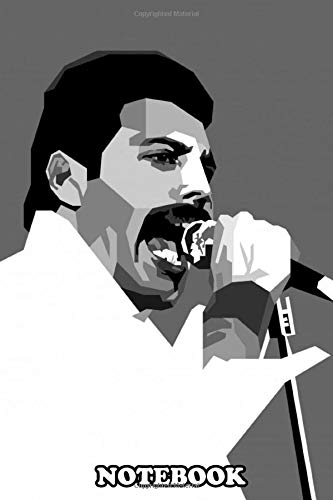 Notebook: Geometric Portrait Of Freddie Mercury In Monochrome Col , Journal for Writing, College Ruled Size 6