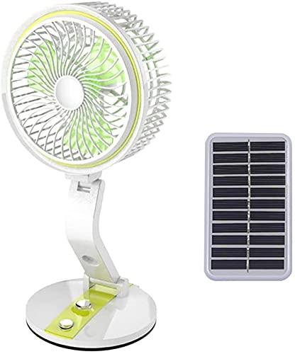 XJYDS Pannello solare portatile Ventola alimentato, con ventola di raffreddamento USB 1600AH a 360 ° Ruota il ventilatore da tavolo regolabile, per l'ufficio da casa in viaggio in barca in barca da pe
