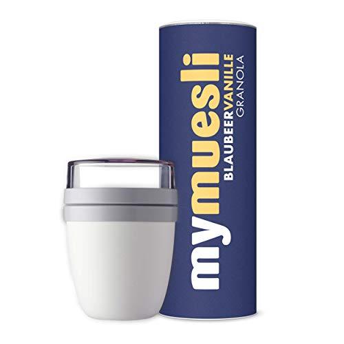 mymuesli 2Go Müslibecher Probierpaket - 2Go Becher weiß (300 ml & 500 ml) & mymuesli Blaubeer Vanille Granola Bio-Müsli (575g) - Hergestellt in Deutschland aus 100% Bio-Zutaten