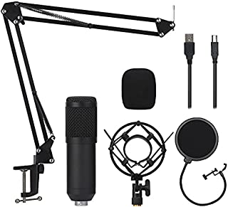 Professional USB Condenser Microphone Bundle,BM800 Mic Kit with Adjustable Boom Scissor Arm Stand,Shock Mount,Pop Filter U...