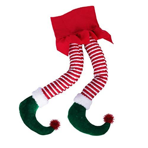 Hooqict 50,8 cm Elfenbeine für Weihnachtsbaumschmuck, Baumwolle, Weihnachtselfen-Beine für Weihnachtsbaum, Kamin, Kränze, Auto-Dekorationen, Weihnachtsbaum-Elfen-Beine