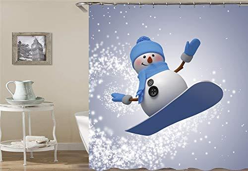 ZZZdz Netter Schneemann Fährt Ski. Duschvorhang 3D Hd-Druck Verblasst Nicht 180X180 cm Wasserdichtes Gewebe 12 Freie Haken Hauptdekoration.