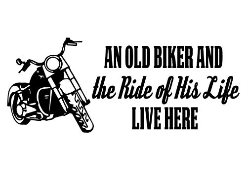 Biker Grandpa Gifts - an Old Biker and The Ride of His Life with Motorcycle Image - Vinyl Decal Home Decor