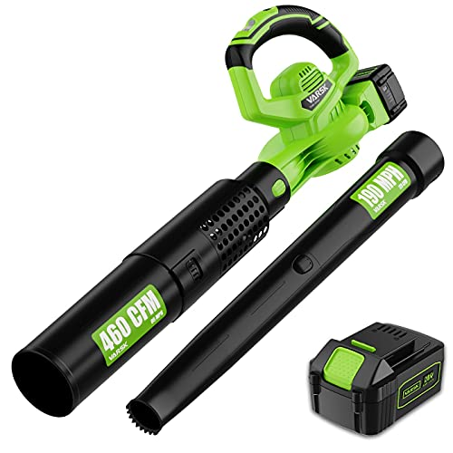 VARSK 2-in-1 Cordless Leaf Blower – 460 CFM & 190 MPH Electric Leaf Blower with 4.0Ah Battery and Charger, 6 Variable Speed Control for Blowing Leaves, Snow Debris and Dust