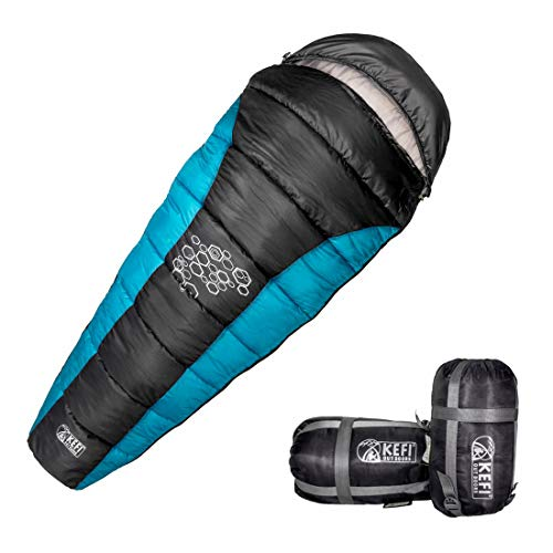 Kefi outdoors Water-Resistant Warm Mummy Sleeping Bag for Camping Hiking Traveling and Outdoor for Men and Women (-5°C to +5°C; 1250g; 12 months Warranty; Free additional Carry Bag) (Aqua Blue; Large)