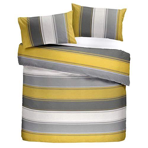 Fusion–Betley–Classic Wide Stripe Set Copripiumino Singolo, ocra