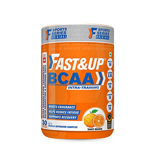 Fast&Up BCAA (30 Servings, Orange Flavour) Advanced BCAA Supplement with Glutamine, Citrulline, L-Arginine & Taurine For Muscle Recovery & Endurance - Pre/Post Workout & Intra Workout Supplement (450g)