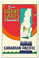 5日間の五大湖クルーズ、カナダ太平洋 金属板ブリキ看板警告サイン注意サイン表示パネル情報サイン金属安全サイン