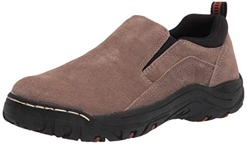 KHOMBU Mens Hiking Shoes Laceless Suede Water Resistant Boots for Walking, Hiking, Work - Slip Resistant Shoes for Men, Durable, Long-Lasting Taupe