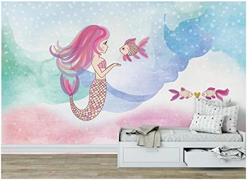 TDYNJJ Mural Vlies Fototapete - Cartoon Unterwasserwelt Meerjungfrau - Fototapete Kinderzimmer - Vliestapete Kinder - Vlies-Tapete Kinderzimmer Mädchen - Geschenk Dekoration