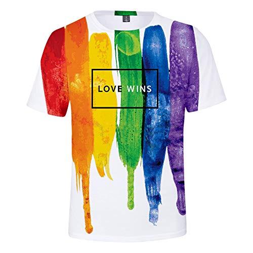 Camisetas LGBT Orgullo, Camiseta de Verano para Hombre Gay Orgullo Parade Arco Iris Color Casual 3D de Manga Corta Top Blusa Tees