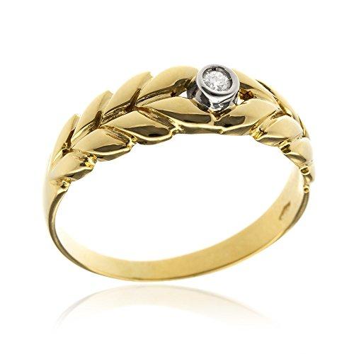 Gioiello Italiano - Anello in Oro Giallo 18kt con Diamante Taglio Brillante ct 0.05