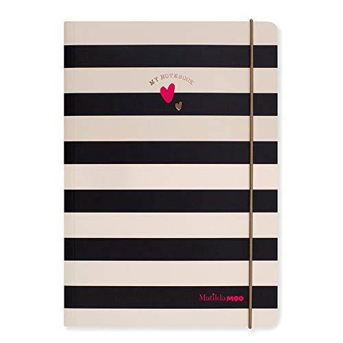 Matilda MOO Notizbuch - A5 Liniert - Schwarz mit Rotgold