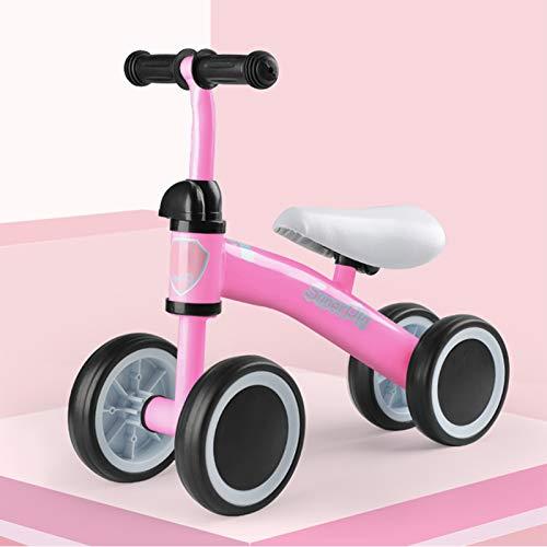 DDXY-Bicicleta de Equilibrio para Bebés y Niños Pequeños,Montar Bicicleta Sin Pedales 10-36 Meses,Bicicleta Deslizante para Niños de 4 Ruedas,Rosado