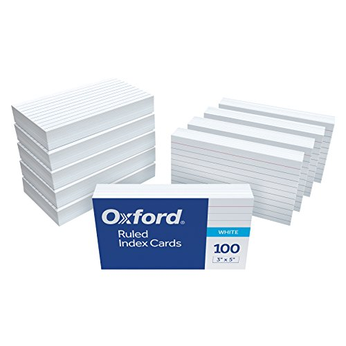 "Oxford Ruled Index Cards, 3"" x 5"", White, 1,000 Cards, 10 Packs of 100 (98833)"
