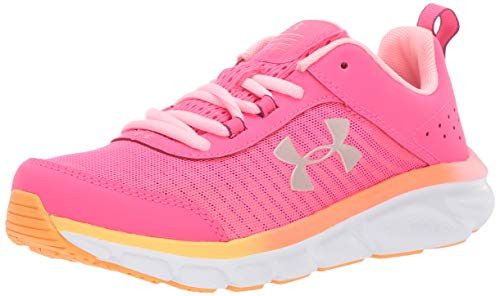 Under Armour Kids' Grade School Assert 8 Sneaker, Pinkadelic (600)/White, 6