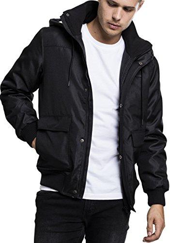 Urban Classics Herren Winterjacke Heavy Hooded Jacket, gefütterte Jacke mit abnehmbarer Kapuze mit Kunstfell-Futter - Farbe black, Größe L