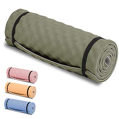 Highlander Comfort Schlafmatte Leichte Schlafmatte zum Aufrollen Ideal für Camping, Festivals oder sogar Yoga Workouts (Olivgrün)