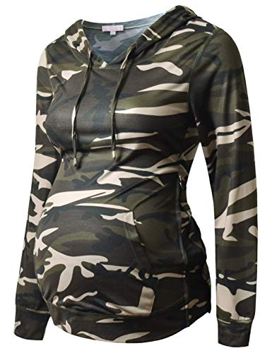 Bhome Maternity Hoodies with Side Zip Up Casual Pregnancy Shirt Sweatshirts Long Sleeve Maternity Tops Camo XL
