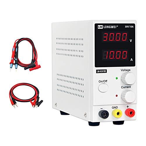 Fuente de alimentación de banco LONGWEI Fuente de alimentación de laboratorio de conmutación regulada Ajustable desde 30V / 10A Pantalla LED de 4 dígitos,con cables de pinza y cable de alimentación UE