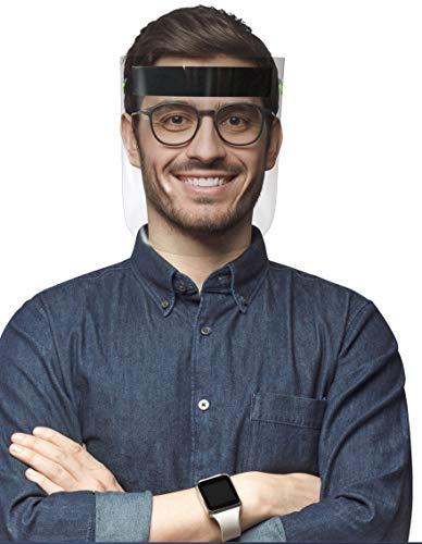 Paquete de 2 Caretas Faciales Protectoras de Ojos, Nariz y Boca Totalmente Transparente. Comodidad, Reutilizable y Lavable.