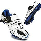 KUXUAN Zapatillas de Ciclismo MTB para Mujer Zapatillas de Bicicleta SPD de Carretera para Hombre Zapatillas de pelotón Transpirables de Malla Ligera Impermeables,Blue-5UK=(240mm)=38EU