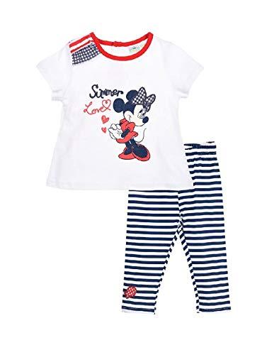 Minnie Ensemble Legging et T-Shirt bébé Fille Rouge et Bleu de 6 à 24mois - Blanc/Marine, 18 Mois