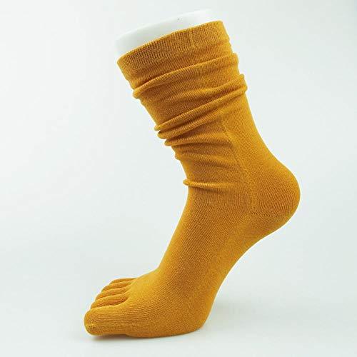ROUNDER Fashion all-match long tube five-finger socks women cotton pile socks warm high tube yoga socks 5 pairs-turmeric