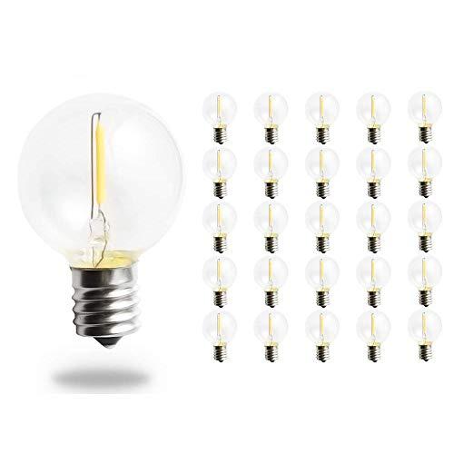 Svater Bombillas de Repuesto G40 LED para Luces de Cadena Aire Libre E12 1W Blanco Cálido 2700K 360 Grados No Regulable Pack de 25