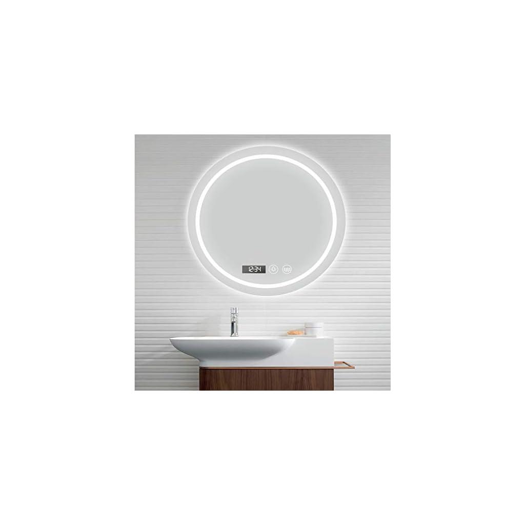 Miroir avec Lumiere de Maquillage en Forme Ronde de 60 cm avec Musique Bluetooth, écran Tactile Anti-Brouillard Salle de…