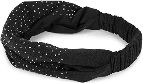 styleBREAKER Damen Haarband mit Strass und Gummizug, Stirnband, Headband, Haarschmuck 04026016, Farbe:Schwarz