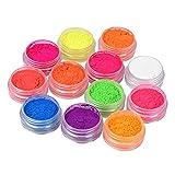 Fluorescence - Polvo de purpurina para uñas, 12 colores, efecto neón, maquillaje brillante, pigmentos ultrafinos, manualidades, para Halloween, carnaval, fiesta