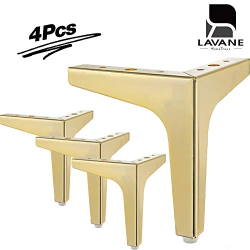 4' / 10cm Furniture Legs, La Vane Set of 4 Modern Metal Diamond Triangle Furniture Feet DIY Replacement Gold for Cabinet Cupboard Sofa Couch Chair Ottoman