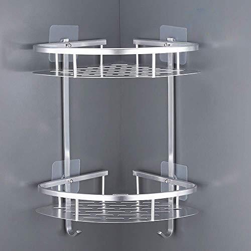 Estantes para Ducha, Entramado de baño, Estantes de baño de Aluminio Espacial Perforado, con Gancho para Colgar, Organizador de Ducha 2 Niveles,para Champú y Gel De Ducha (Dos capas de plata)