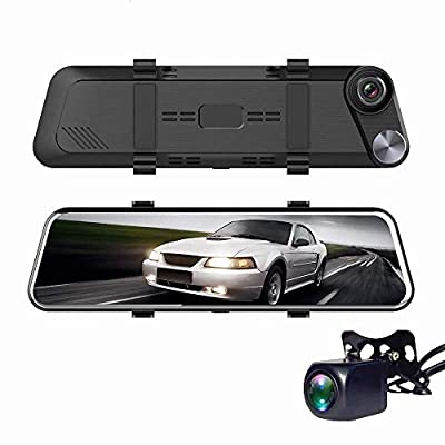 CHEZAI Mirror Dash Cam 9.66 Inches Touch Screen Full HD 1080P, Wide Angle Front Camera and Waterproof Rear Camera, Car Camera with Emergency Recording Parking Monitoring from SPRIS