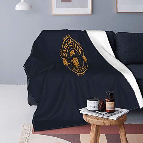 Manchester United - Manta de forro polar de microfibra suave y mullida para cama, sofá, silla, otoño e invierno, 125 x 150 cm
