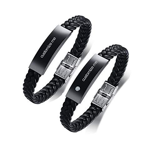 VNOX Personalisierte Maßgeschneiderte Herren Edelstahl Schwarz Geflochtene Mikrofaser Leder Armband Manschette Armband für Freund Vater Sohn Geschenk