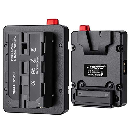 Fomito NP-F Batería simulada para placa de montaje en V para Sony F970 F750 F550 Batería para monitor de cámara Neewer F100 FEELWORLD FW568 F5 T7, Luz de video LED CN160 CN216 YN300 II YN-600 W260