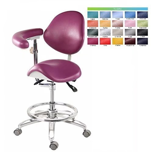 BoNew Dental Deluxe Mobile Saddle Chair PU Leather Assistant Doctor Stools