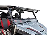SuperATV Heavy Duty Scratch Resistant 3-IN-1 Flip Windshield for Yamaha Wolverine X2 (2019-2020) - Hard Coated for Extreme Durability - Can be Set to Open, Vented, or Closed!