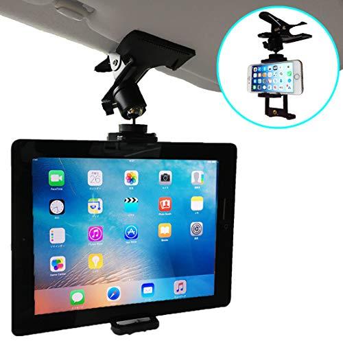 Nanmara - Soporte de coche para iPad, tableta, con clip de sujeción firme y potente que se puede utilizar en muchos lugares, ubicación de instalación para visera solar, asientos traseros, etc.