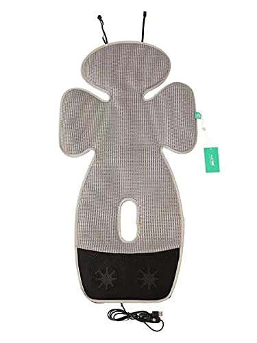 Grey Baby Seat Cooling Liner, Mesh Stroller Liner Infant Baby Cushion Pad Cool Seat for Stroller Safety Seat Dining Chair, with 2 Adjustable Fans and USB Powered