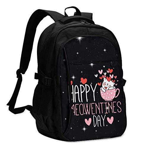 Hdadwy Las Mochilas de Viaje Happy Meowentine para Hombres y Mujeres con Puertos de Carga USB Pueden acomodar portátiles de 13 a 16 Pulgadas